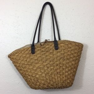 J. Crew Straw Tote Bag with Leather Straps